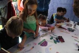 Children making collage animals