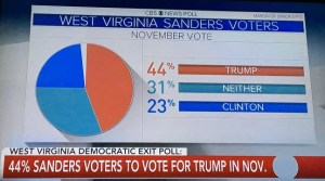 Forty four percent is nearly half the Bernie supporters who voted in the West Virginian primary.