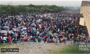 SHOCK VIDEO: 6,000 Unvaccinated Illegal Aliens Gather Under an International Bridge in Del Rio Waiting to Be Released Inside US