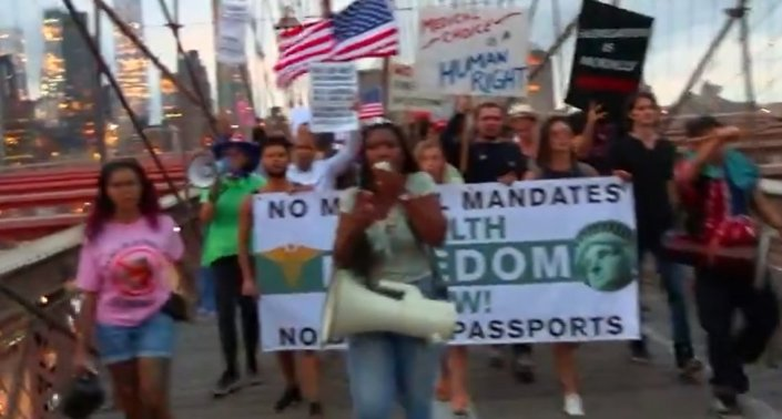 Thousands Of Outraged New Yorkers To Protest Vaccine Passport Mandate In Times Square on Sept. 18Alicia Powe