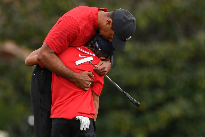 Tiger Woods seen without crutches for first time since major car accident