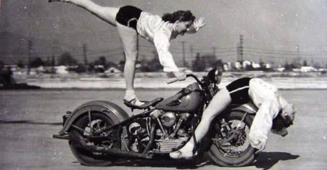 Vintage Photos of Early Women Motorcycle Stunters
