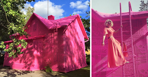 Polish Artist Covers A 100-Year-Old House In Finland With Pink Crochet