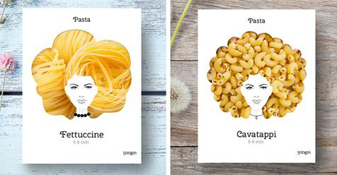 Cleverly Designed Packaging Makes Pasta Look Like Gorgeous Hair