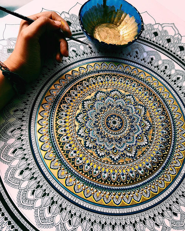 Intricate Mandalas Gilded with Gold by Artist Asmahan A. Mosleh