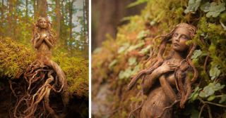 Artist Transforms Driftwood Into Fantastical Sculptures That Look Like Spirits of Nature
