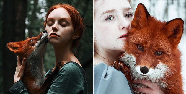 Fairytale Portraits Of Redheads With A Red Fox