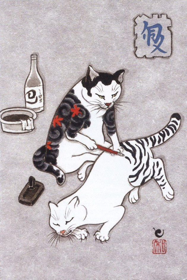 japanese-tattoo-paintings-monmon-cats