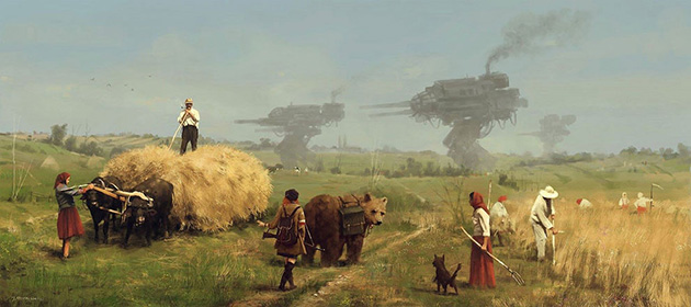 Odd paintings depict massive robots and other creatures attacking early 20th century peasants