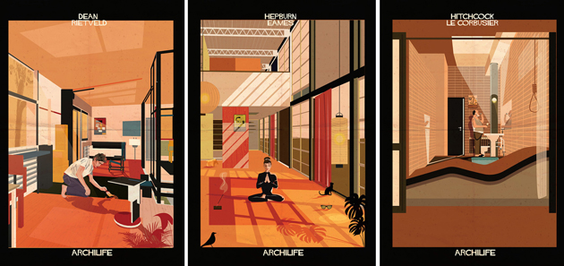 Artist Illustrates Popular Architect-Designed Homes with Film Stars