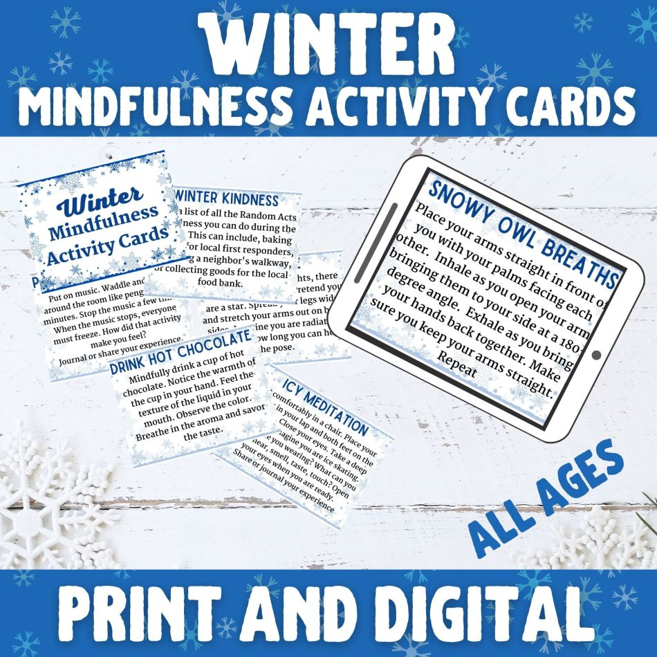 Winter Themed Mindfulness Activities and worksheets for school, scouts, church groups, yoga class