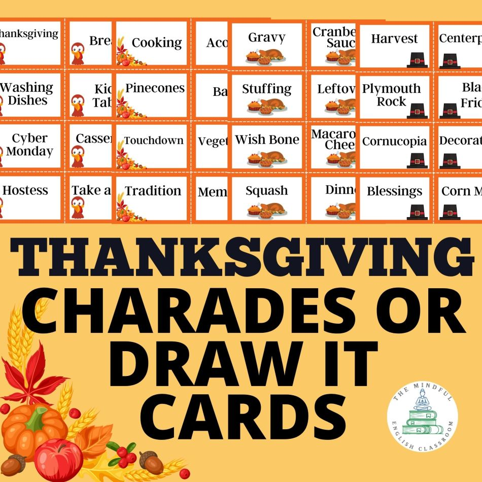 Thanksgiving Charades or Pictionary Cards for recess or brain breaks