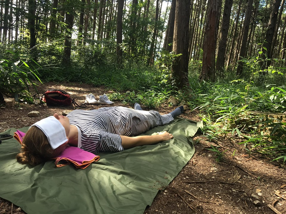 Planning forest bathing in Kyoto by bringing an eye cover to enhance relaxation