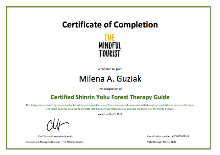 Shinrin Yoku Training with a certificate upon completion The best forest bathing course