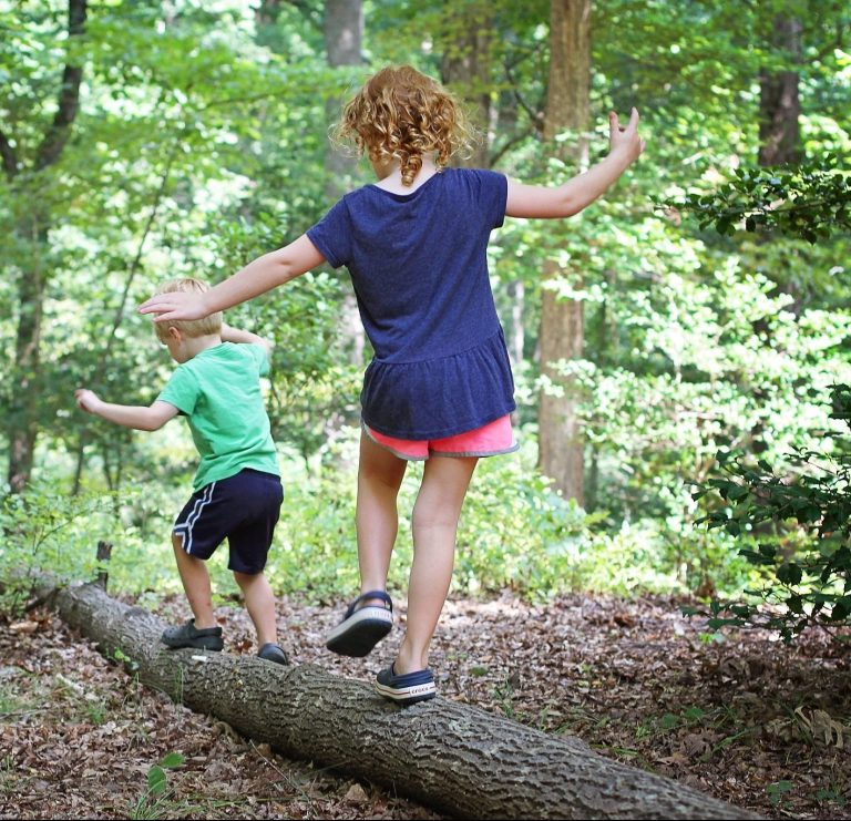 Kids in forest