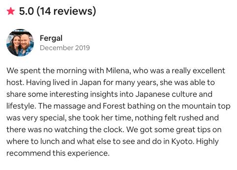 Forest bathing trip testimonial