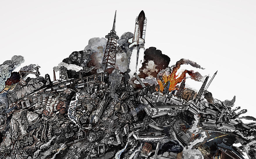 Incredibly Detailed Drawings air pollution