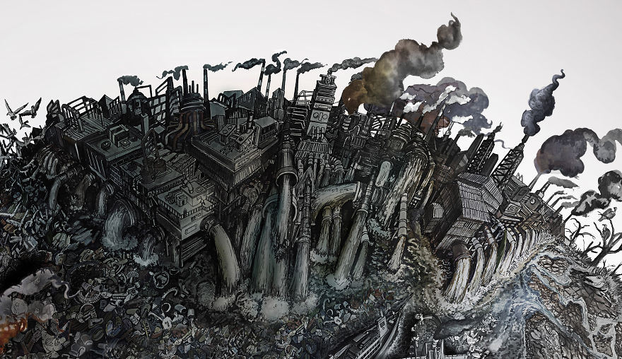 Incredibly Detailed Drawings water pollution