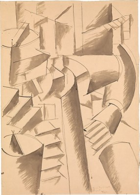 "Drawing for ""The Card Game"" Fernand Léger Date: 1917 Medium: Graphite and ink on off-white wove paper; subsequently mounted to paperboard"