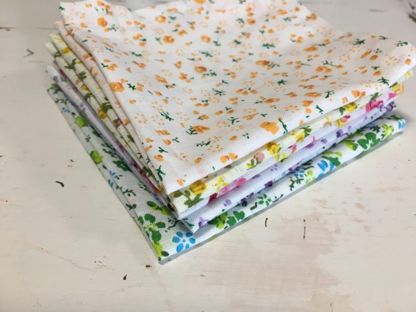 eco friendly swaps - a pile of handkerchiefs, fresh off the sewing machine!