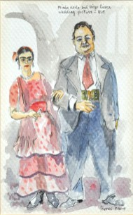 Frida Kahlo and Diego Rivera Wedding Picture - 1929 1991 Watercolor