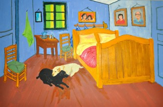 Garcia Family and Dogs in Van Gogh's Bedroom 2007 Oil on canvas