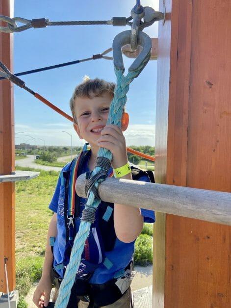 A little boy at Wild Play at Jones Beach