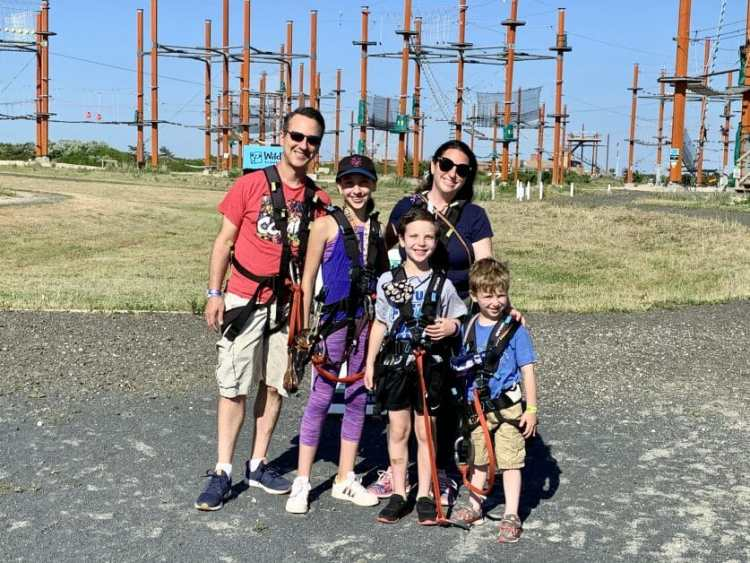 A family of 5 at Wild Play at Jones Beach. Zipline & Ropes Courses on Long Island.
