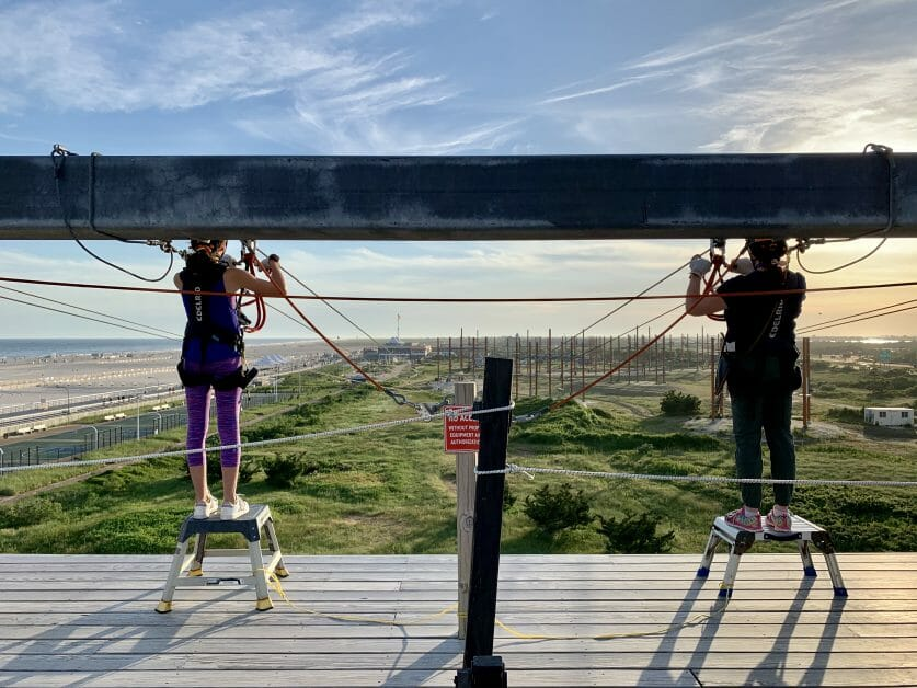A mom and daughter on the zipline at Wild Play Jones Beach