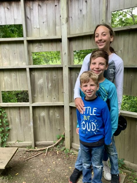 Three kids on a hike at InletCounty Park in Greenport