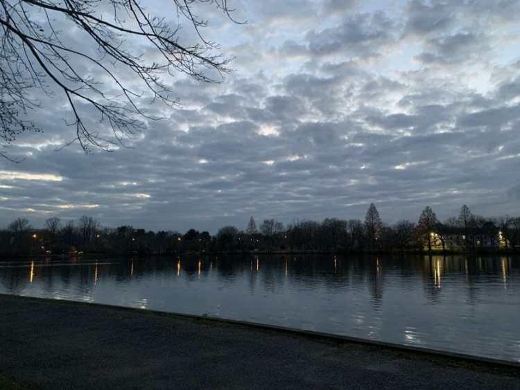 sunset at Belmont Lake State Park