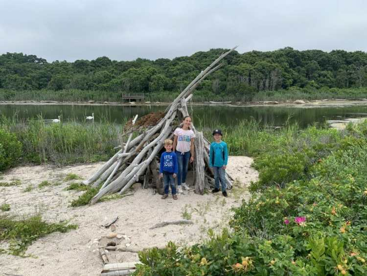 More Family Hikes on Long Island, 3 kids at Inlet Pond County Park in Greenport