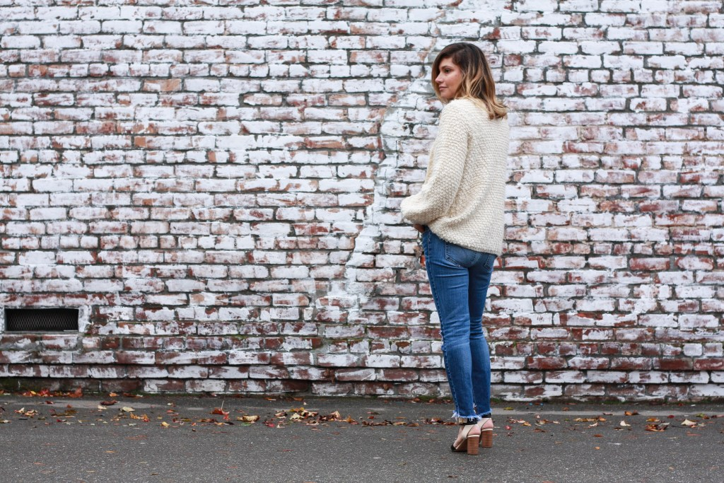 cardigan, ripped jeans, chloe shoes