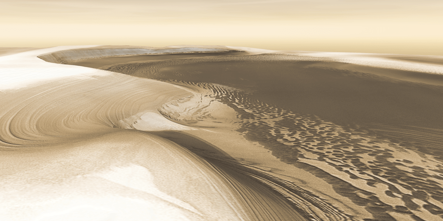 LAYER CAKE. Climatic cycles of ice and dust built the Martian polar caps, season by season, year by year — and then whittled down their size when the climate changed. Here we are looking at the head of Chasma Boreale, a canyon that reaches 570 kilometers (350 miles) into the north polar cap. Canyon walls rise about 1,400 meters (4,600 feet) above the floor. Where the edge of the ice cap has retreated, sheets of sand are emerging that accumulated during earlier ice-free climatic cycles. Winds blowing off the ice have pushed loose sand into dunes, then driven them down-canyon in a westward direction, toward our viewpoint. (A 9 MB version of the image is available.) Credit: NASA/JPL/Arizona State University, R. Luk (vertical exaggeration 2.5x).