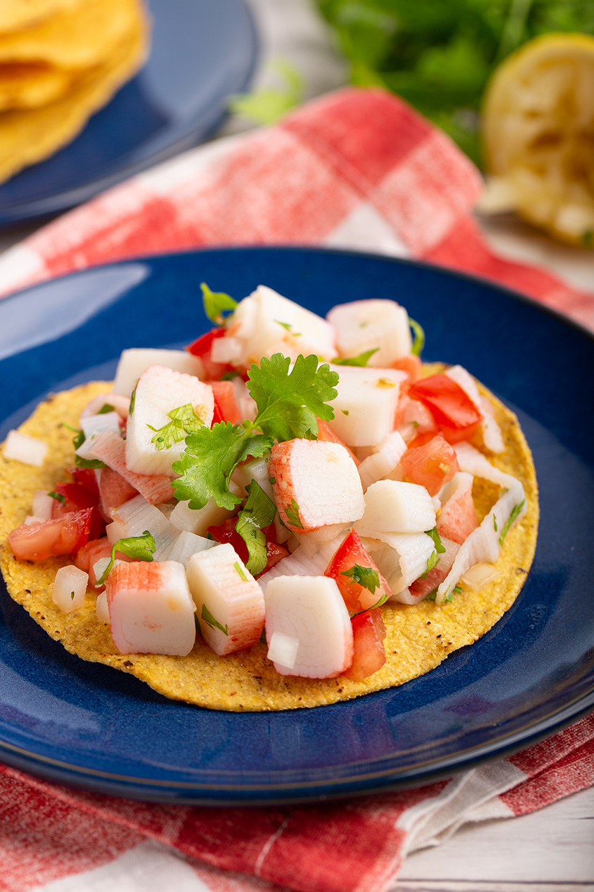 Crab Ceviche Tostada #imitationcrab #ceviche #tostada #easyrecipe #summerrecipe #colddish #dinner #dinnerrecipe #appetizer #tomato | The Missing Lokness