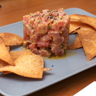 Tuna Tartare with Baked Wonton Chips