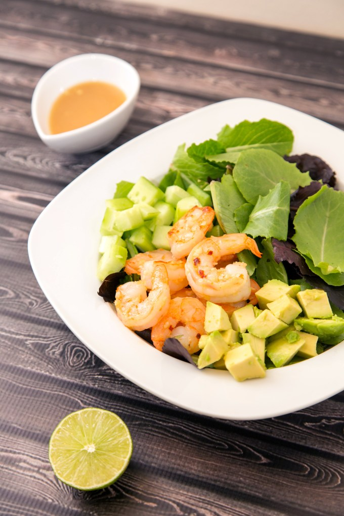Shrimp Salad with Garlic Miso Dressing | The Missing Lokness
