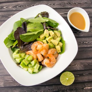Shrimp Salad with Garlic Miso Dressing