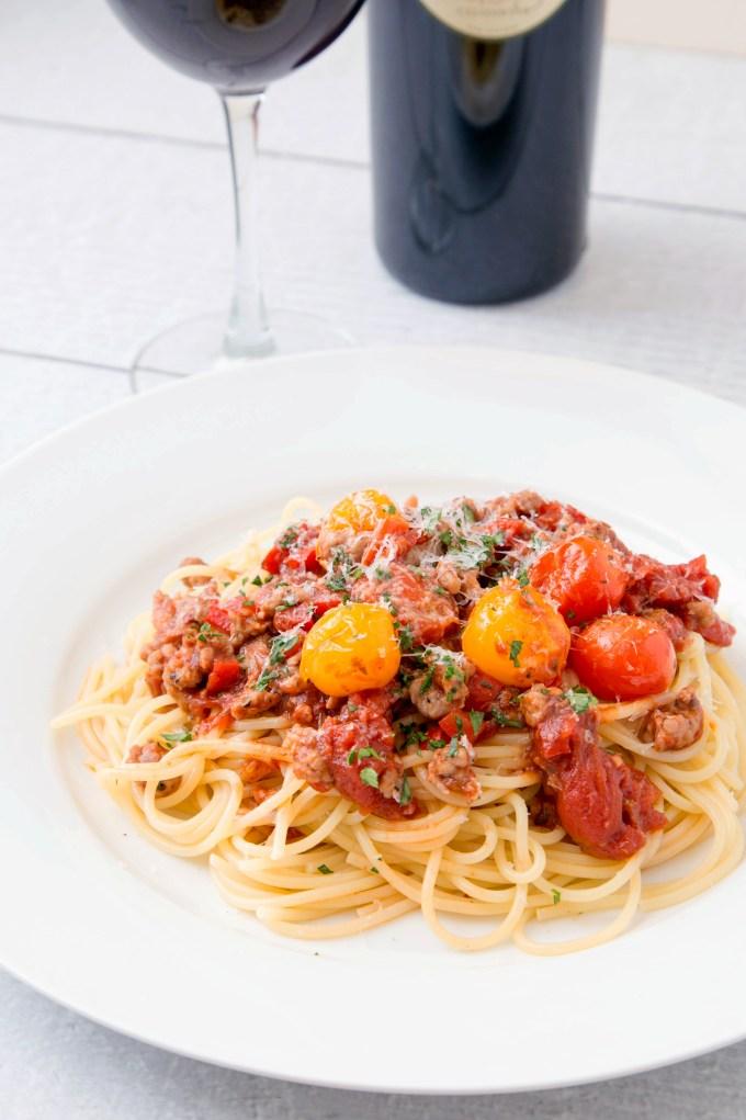 Spaghetti with Sausage and Grape Tomato Ragu 1 | The Missing Lokness