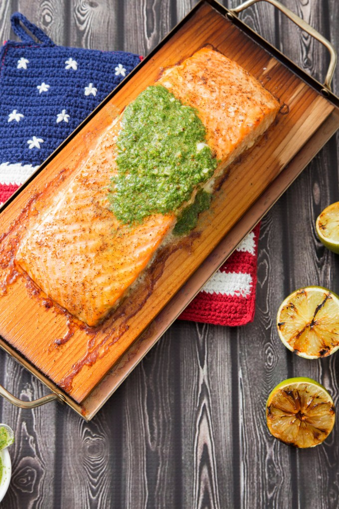 Cedar Plank Salmon with Cilantro Pesto and Grilled Lime 4 | The Missing Lokness