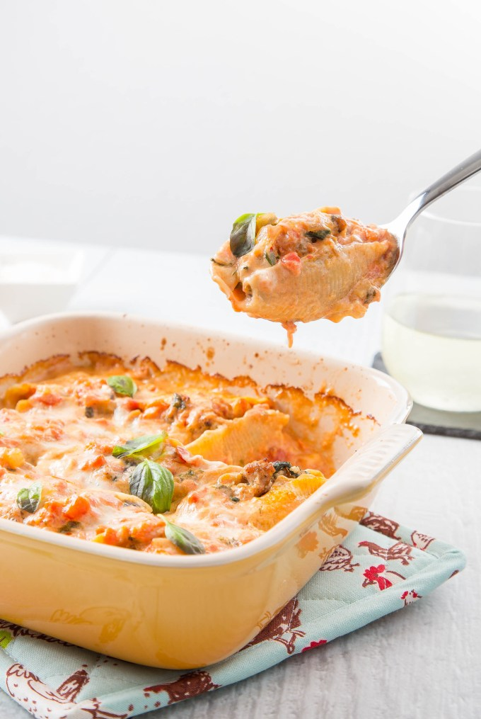 Sausage and Eggplant Stuffed Shells with Tomato Cream Sauce 1| The Missing Lokness