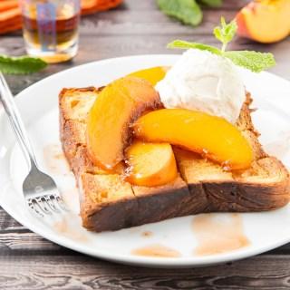Bourbon-Glazed Peach Brick Toast