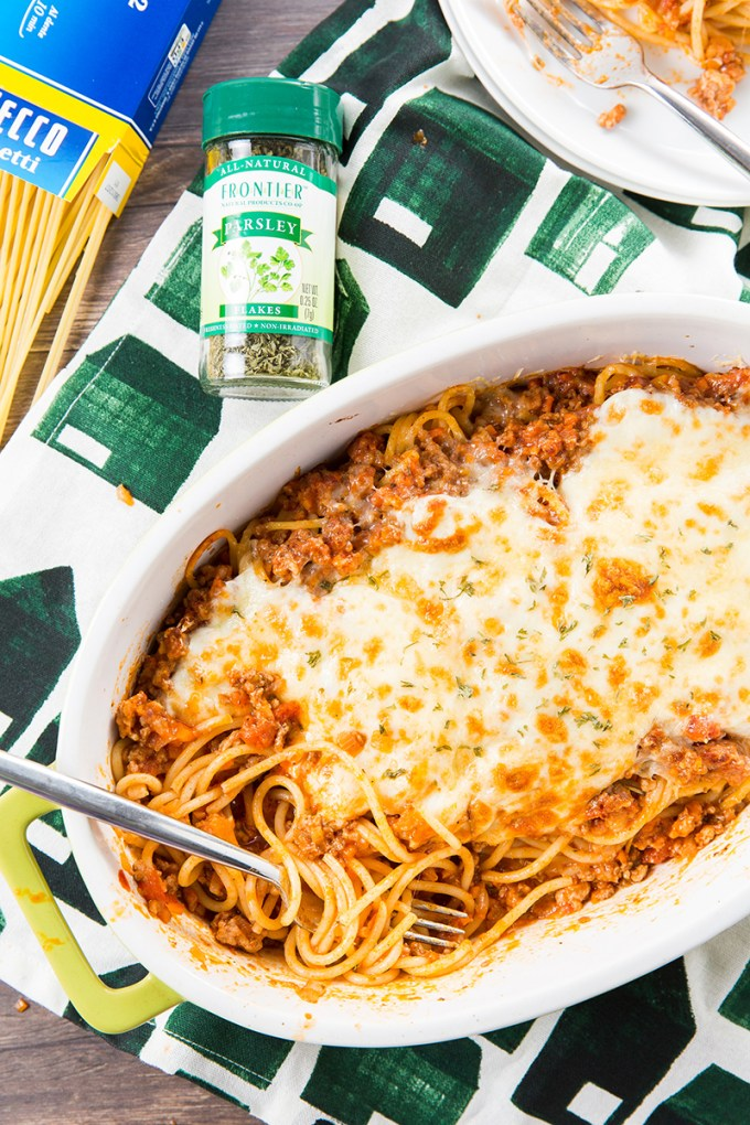 Baked Spaghetti with Meat Sauce #pasta #meat | The Missing Lokness