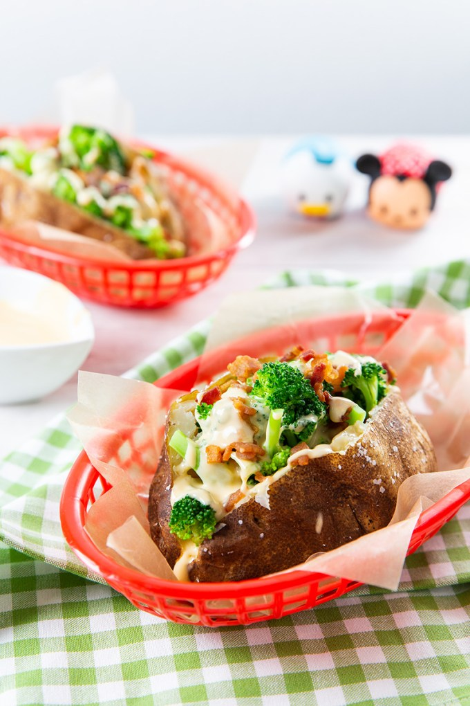 Disneyland Bacon Broccoli & Cheese Stuffed Baked Potatoes #bakedpotato #broccoli #cheesesauce #bacon #potato | The Missing Lokness