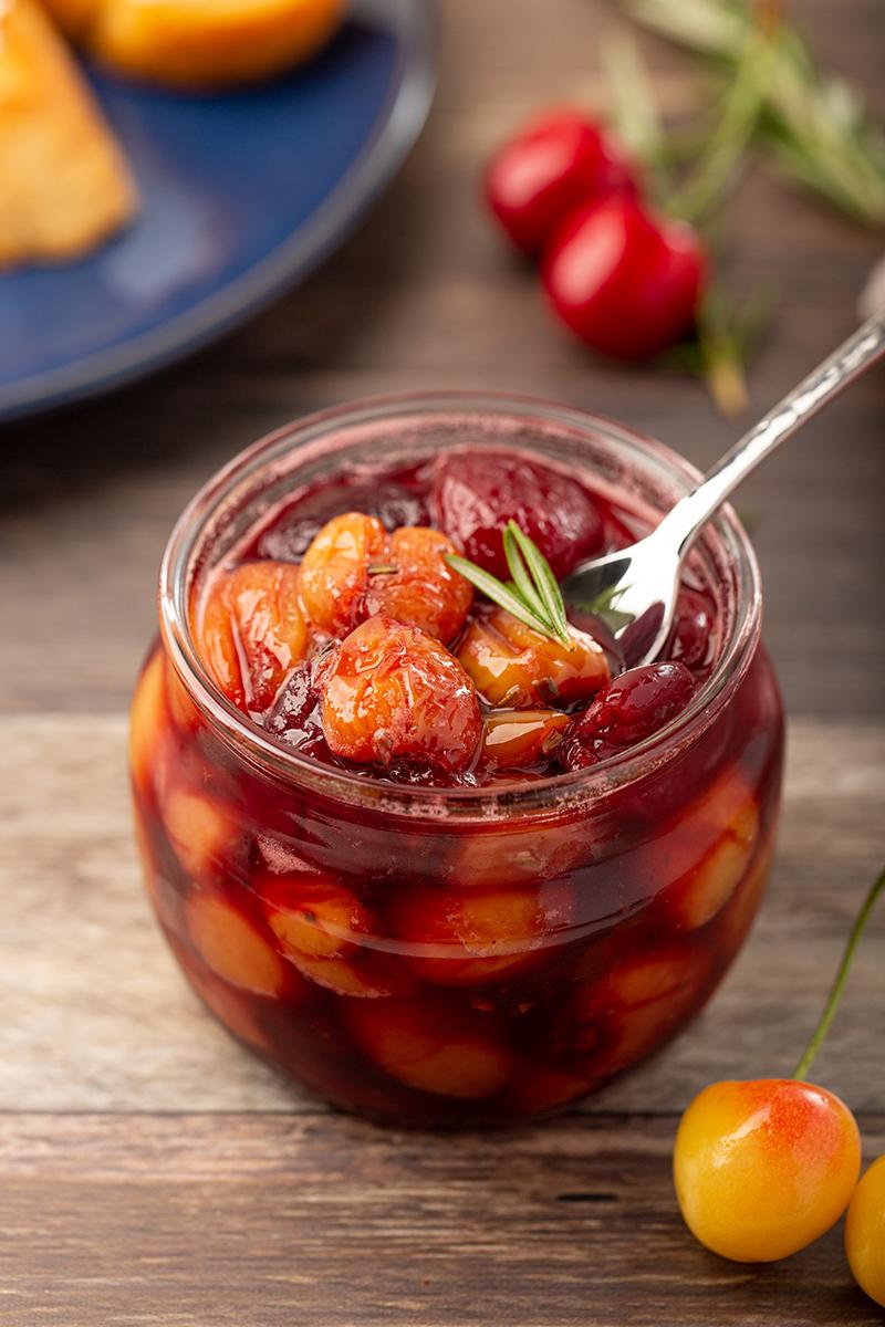 Rosemary Cherry Compote #cherry #rosemary #balsamicvinegar #condiment #ediblegift #appetizer #dessert #dessertrecipe | The Missing Lokness