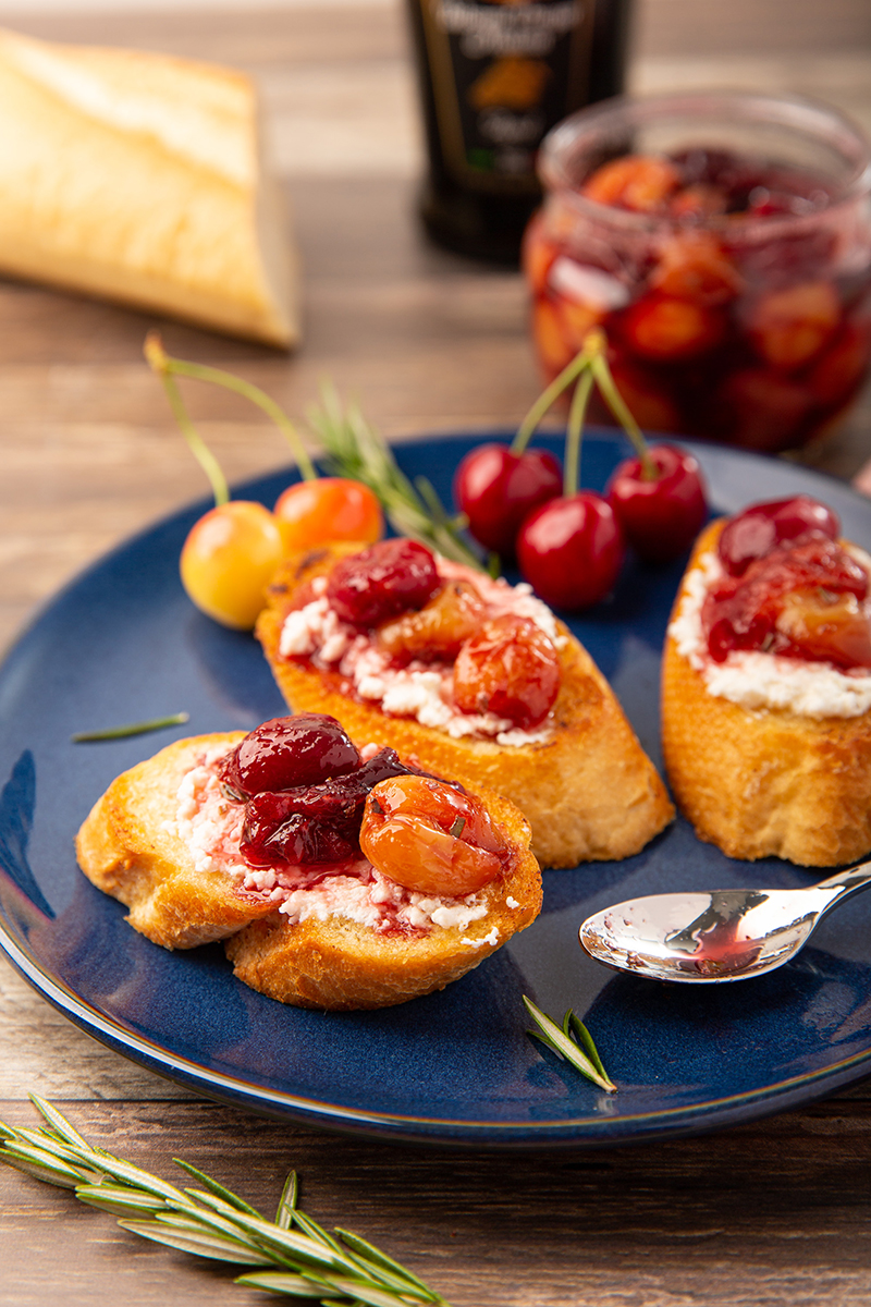Ricotta Toast with Cherries #cherry #ricotta #toast #cherrycompote #baguette #appetizer #appetizerrecipe #partyrecipe | The Missing Lokness