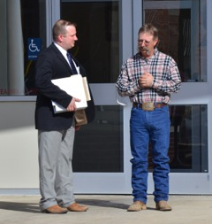 Left to right, Stoddard County Prosecuting Attorney Russ Oliver and Eric Griffin. Oliver is representing Griffen in the court case that began the Department of Revenue document scanning questions and concerns.