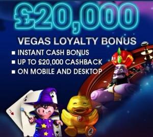 Vegas mobile casino 20k cashback bonus