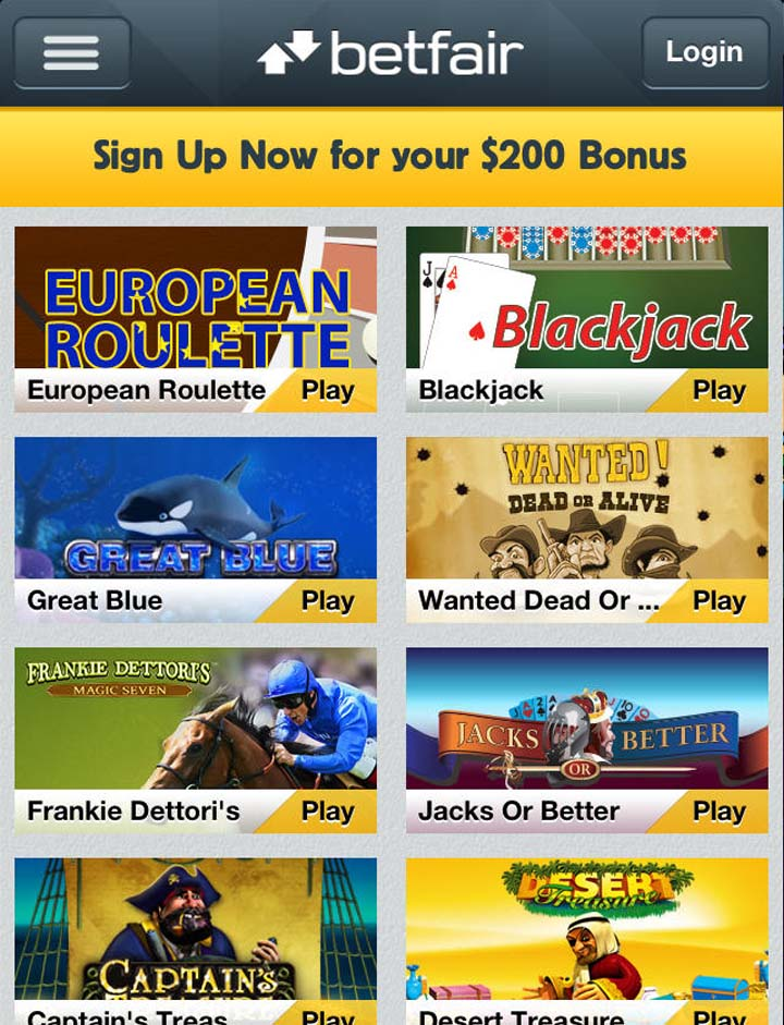 Betfair casino online casino lobby