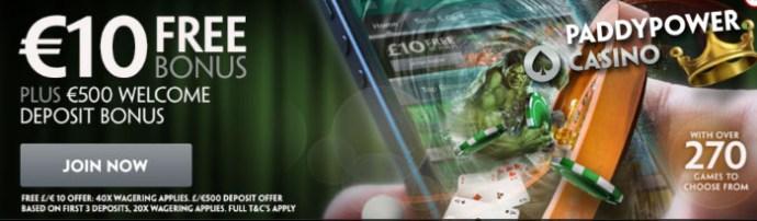 mobile casino no deposit bonus paddy power